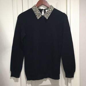 NWT J Crew Leopard Woven Collar Black Sweater S